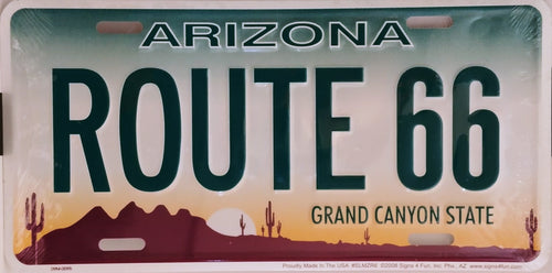 Historic Route 66  Arizona  License Plate
