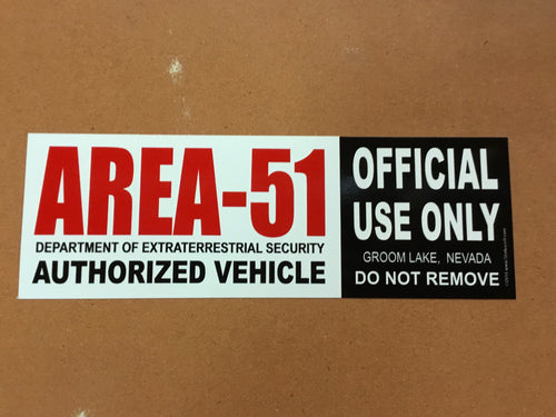 Area 51 Authorized Vehicle Bumper Sticker