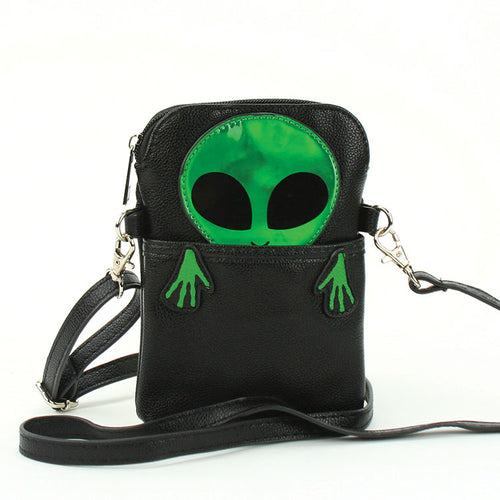 Peeking Alien Crossbody Bag