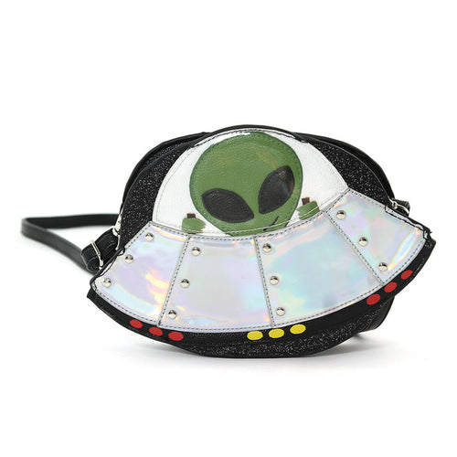 Alien on a Spaceship Crossbody Bag