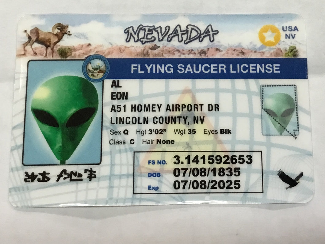 Nevada  Flying Saucer Alien Driver License