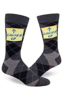 Lawyer Up Men's Crew Socks Heather Charcoal