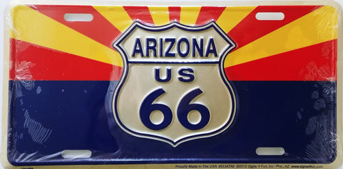 Historic Route 66  Arizona Flag With Shield License Plate