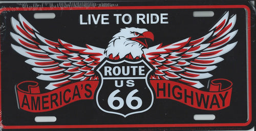 Historic Route 66 Live to ride eagle license plate
