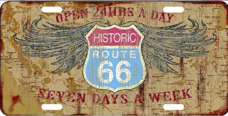 Historic Route 66 Open 24 Hours License Plate