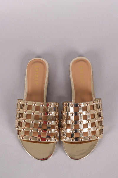 506955f23760e5 Bamboo Studded Grid Caged Slide Sandals – bucket-hats-screening
