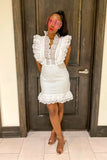White Lace Frill Dress