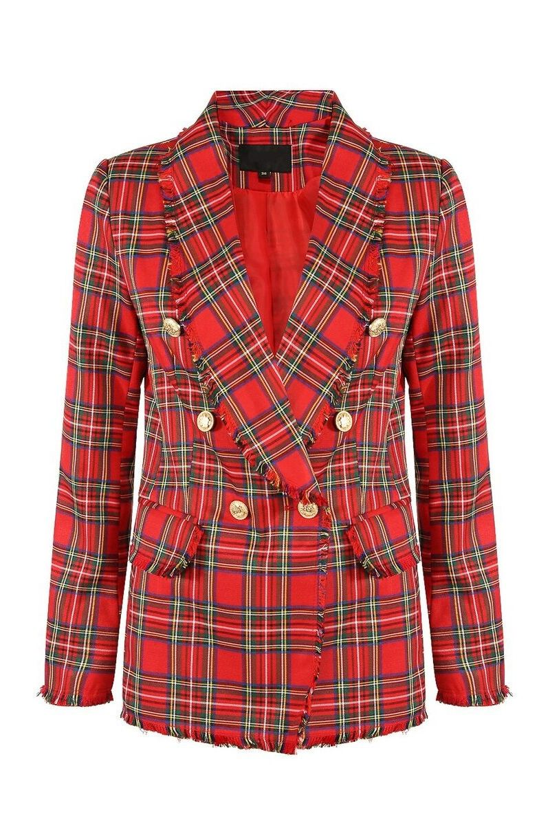 Red Plaid Blazer - So Kate Boutique