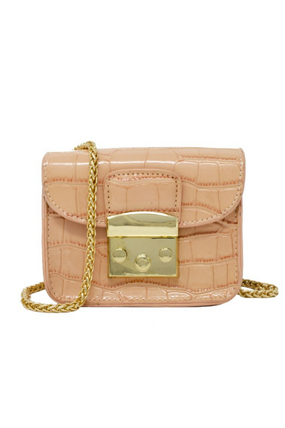 Peach Valentina Croc Bag