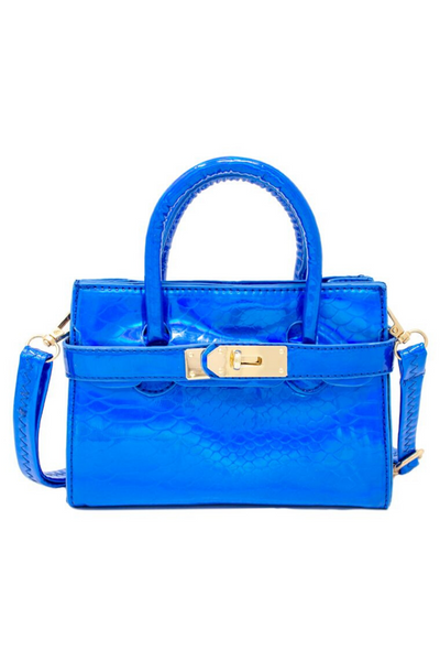 Shiny Blue Croc Bag
