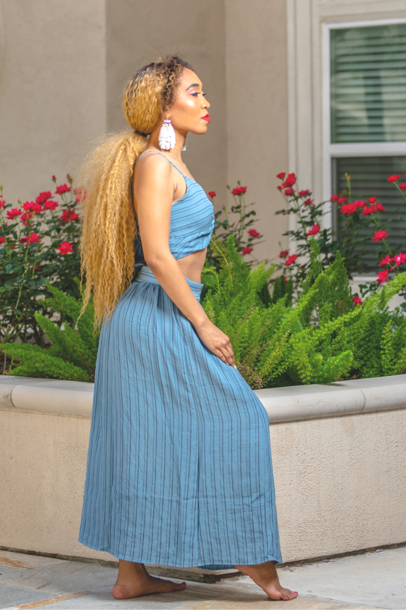 Blue Striped Skirt Set - So Kate Boutique