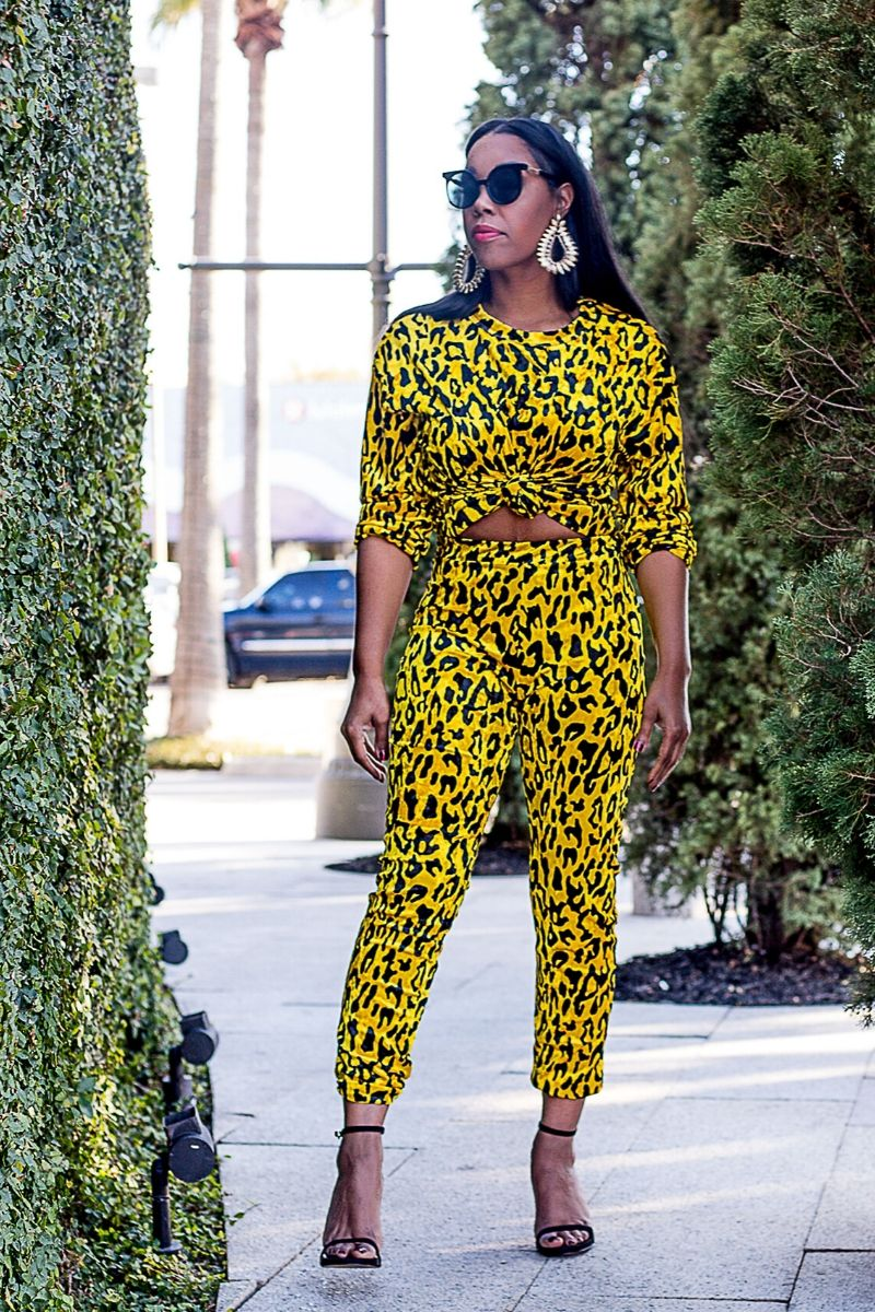 Yellow Leopard Jogger Set - So Kate Boutique