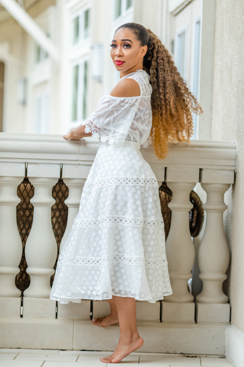 White Lace Midi Skirt - So Kate Boutique