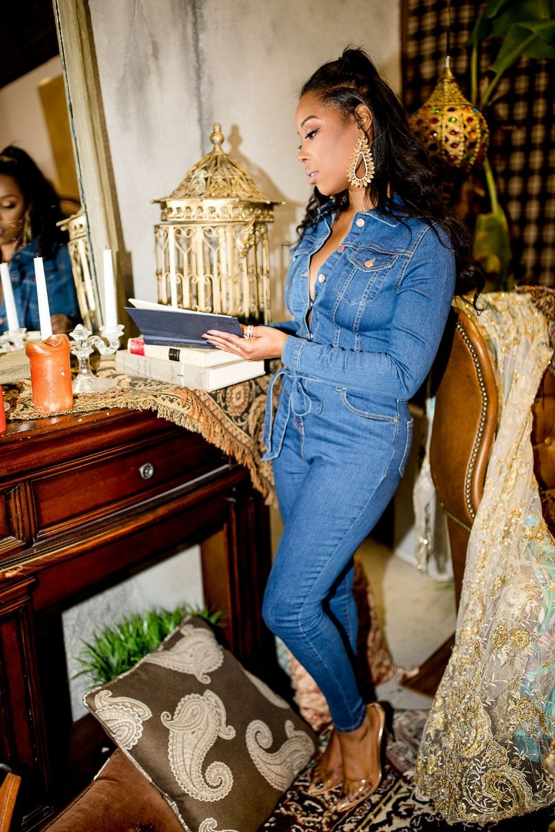 Long Sleeve Denim Jumpsuit - Preorder Ships 2/18/20 - So Kate Boutique