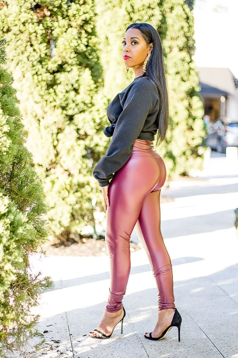 Burgundy Faux Leather Leggings - So Kate Boutique