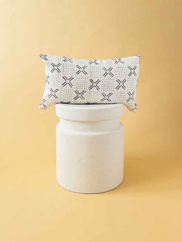 White Mudcloth Lumbar Pillow 101