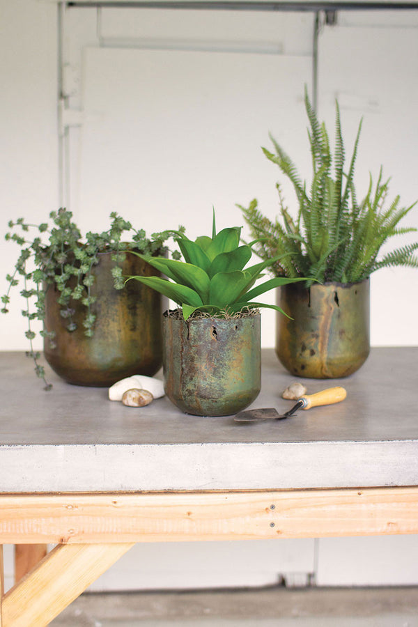 Verdigris Iron Planter Set