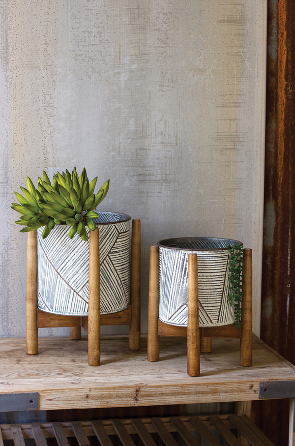 Pressed Tin Planters with Wood Bases