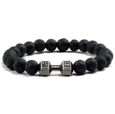 Dumbbell Fitness Black Stone Bracelet