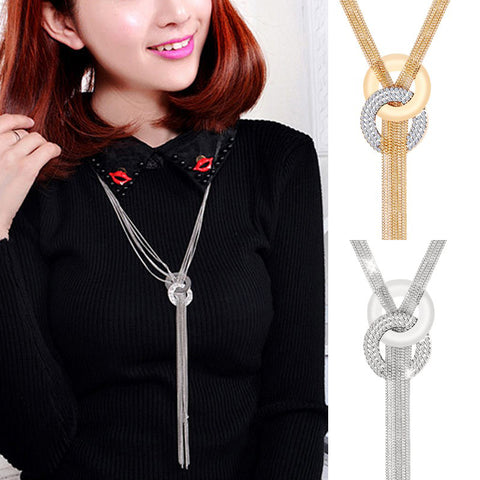 Zinc Alloy Gold Silver Tassel Crystal Women Long Pendant Necklace Sweater Chain Rhinestone Fashion Jewelry
