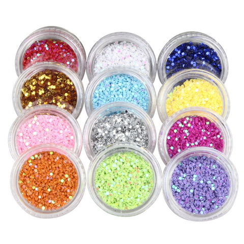 12 Pcs/set Round Corlorful Nail Glitter Powder Dust Confetti nail Sequins Women Manicure Decoration Tool Supplies