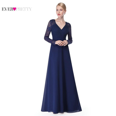 Brand New Formal Evening Dresses Ever Pretty, Women's Elegant V-neck, Hot Sale Long Sleeve Lace Plus Size Evening Dress