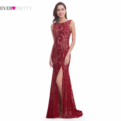 Hot Lace Evening Gown Dresses, Mermaid Evening Dress Ever Pretty, Long Sexy Sleeveless Split Formal Celebrity,