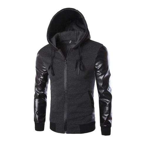 2016 Autumn Men`s Hooded Jacket With Leather Sleeves Motorcycle Faux Leather Slim Fit Hoodie Jacket With Hood