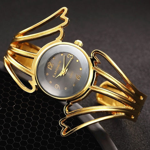 2016 Fashion Wings Design Bracelet Watch Full Steel Quartz Watch Women Cuff Bangle Watches Femme Relojes Mujer Relogio Feminino