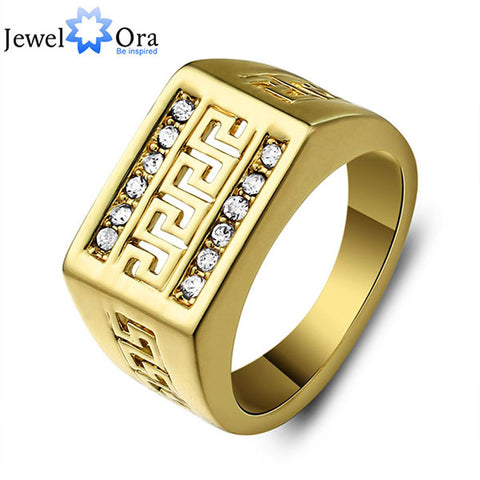 Vintage Gold Color Ring Good Quality Rhinestone Golden Men Ring Allah Fashion Jewelry (JewelOra Ri100244)