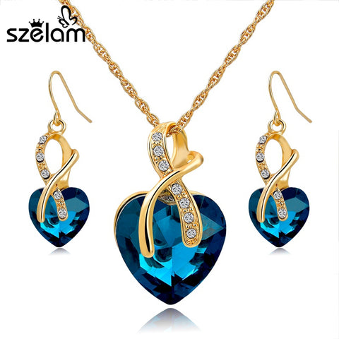 Crystal Heart Necklace Earrings Jewellery Set for Women Bridal Wedding Accessories