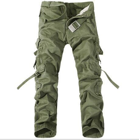 100%Cotton new Fashion brand Multi-Pocket Solid Men Cargo Pants High Quality Casual Military Army Combat Trousers Plus Size 42
