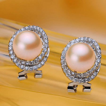 [MeiBaPJ] High quality 10-11mm natural freshwater pearl earrings for women stud earrings white/pink/black real 925 Silver