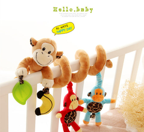 0-12 Month Infant Baby Rattles Mobiles Toys Spiral Bed Stroller Crib Cot Hanging Plush Rattle Toy Animal Educational Teether Toy