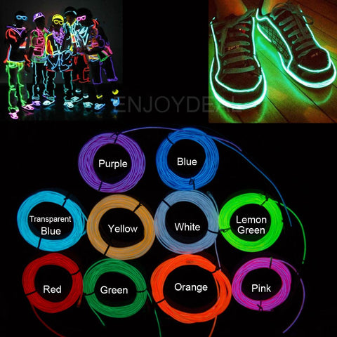 1/2/3/5M Flexible Neon Waterproof LED Light EL Wire Strip Tube for Car Dance Party Decor +Controller