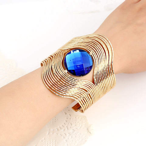 Exaggerated Metal Bracelet Big Personality Stripes Round Blue AAA Stone Opening Bracelet Wide Version Bracelet Female Jewelry