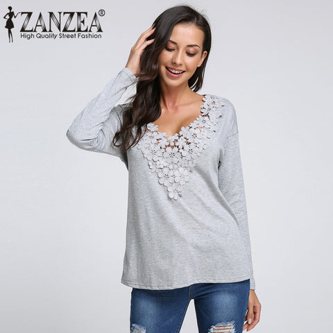 Lovelly Autumn Blouses Tops Casual Chemise Femme Blouses Fashion, Plus Size Women Long Sleeve Lace Hollow Out Shirts Blusas