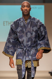 Blue military kimono with wax print bands