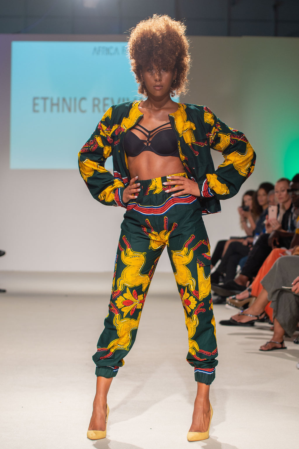 Green and yellow military wax print track suit