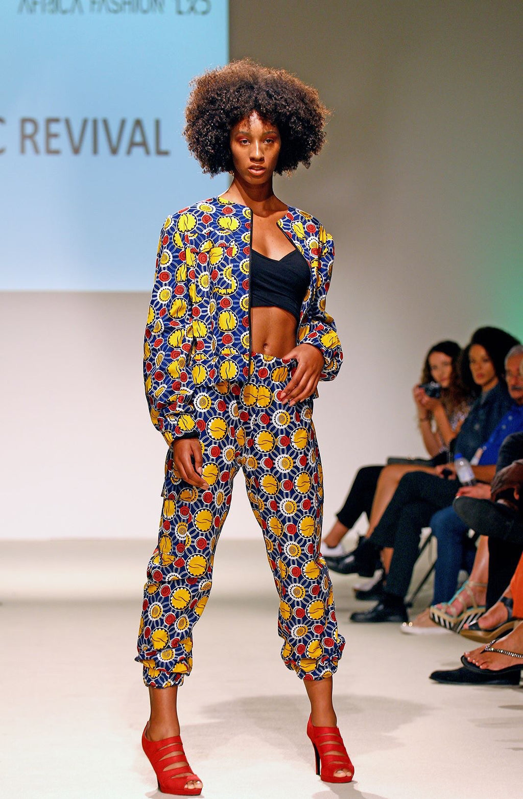 Blue and yellow military wax print track suit