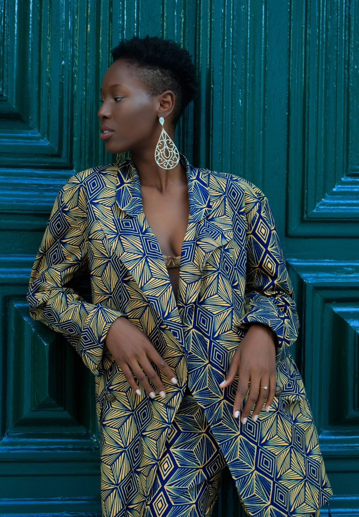 Beige and blue wax print suit