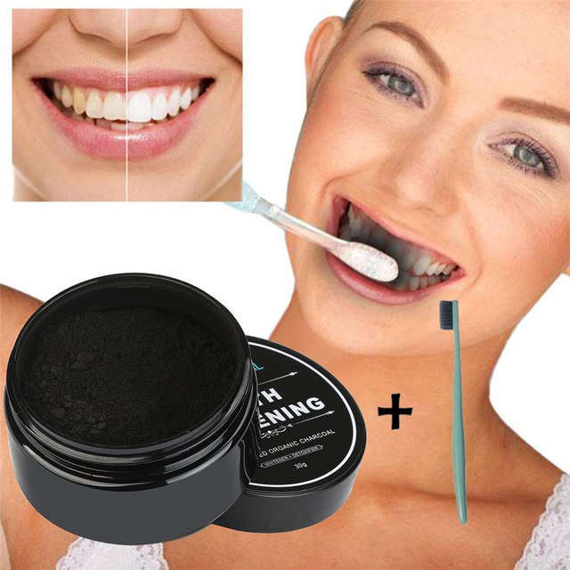 LUX Teeth Whitening Activated Charcoal Powder + Bamboo Toothbrush