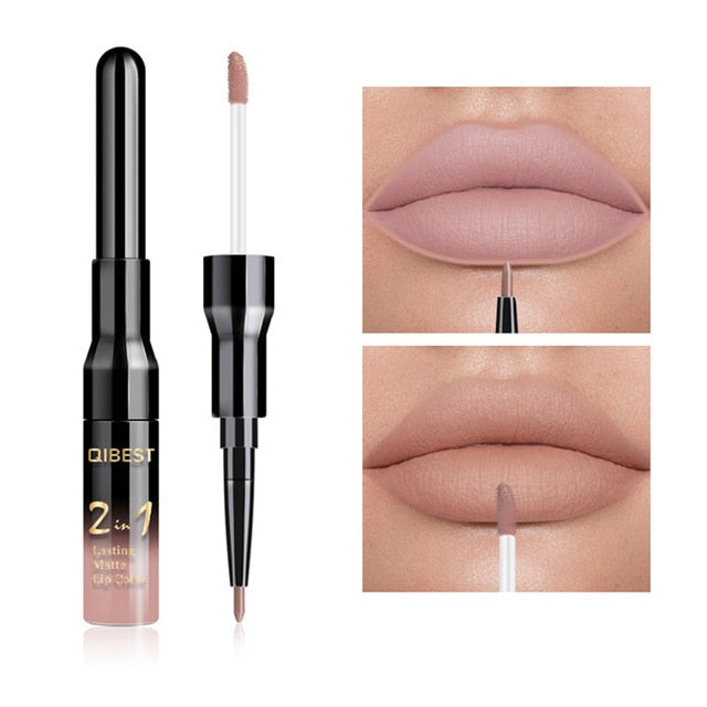 Red Wine Shape 2 In 1 Double End Liquid Lipstick
