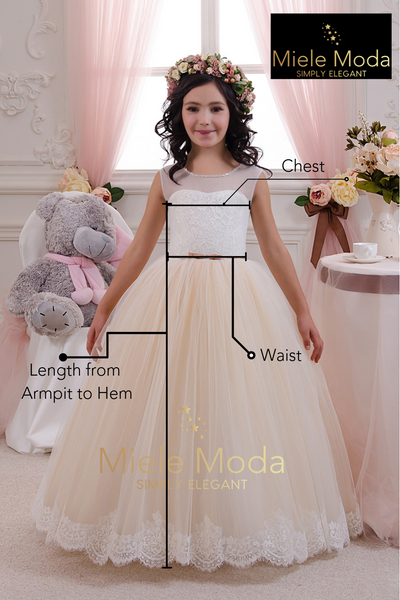 <alt>picture of a beautiful little girl wearing a flower girl dress and measuring instructions how to measure girls for couture gowns</alt>