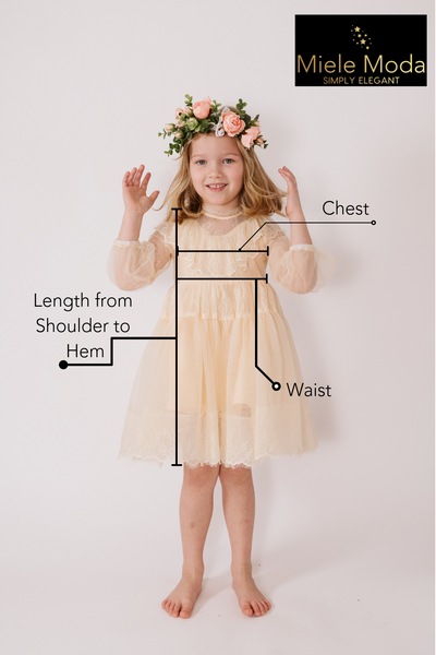 <alt>picture of a beautiful little girl wearing a cream flower girl dress and measuring instructions how to measure girls for couture gowns</alt>