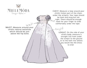 <alt>chart of how to measure your daughter for a custom dress from miele moda boutique</alt>