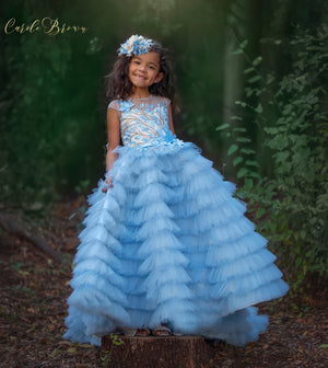 Pretty girl wearing Electra Flower Girl Lace Couture Dress-by Miele Moda Boutique
