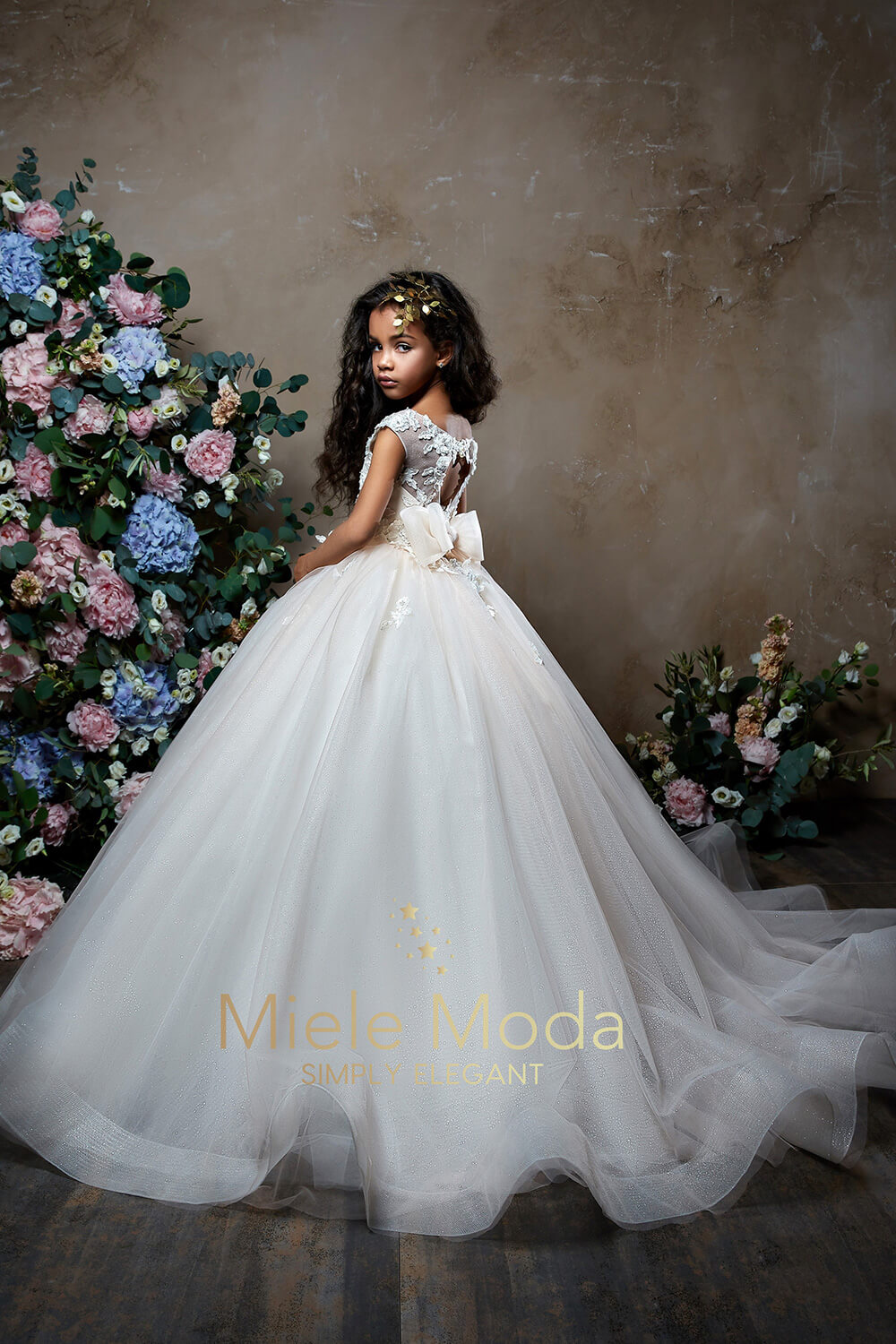 Pretty girl wearing Abigail Flower Girl Dress Pageant Dress-by Miele Moda Boutique