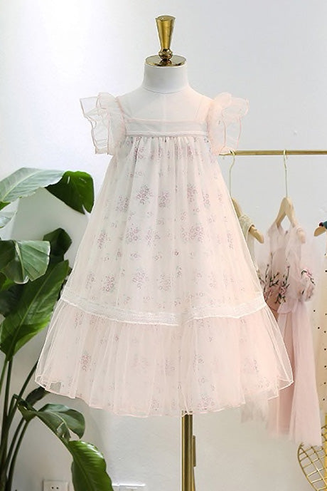 Amy Floral Summer Girl Dress in Pale Pink-Little Girl Dress-Miele Moda