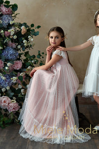 Pretty girl wearing Angel Kisses Flower Girl Dress-by Miele Moda Boutique